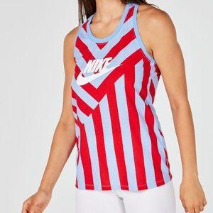 Nike Sportswear Striped Racerback Tank Blue/Red